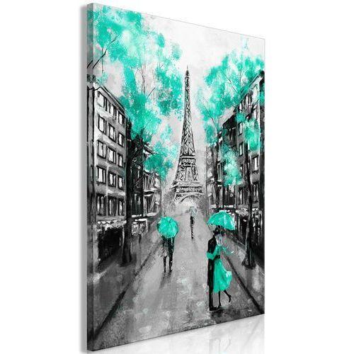 Obraz - Paryskie rendez-vous (1-częściowy) pionowy zielony