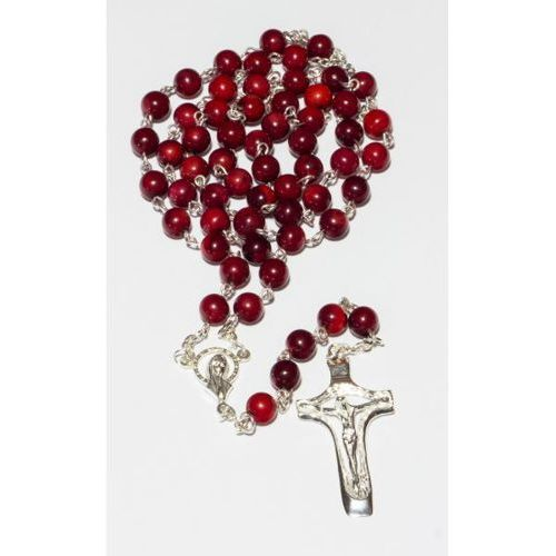 OKAZJA - Różaniec srebrny z koralem, towar z kategorii: Dewocjonalia