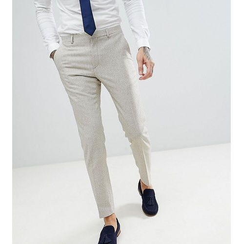 Heart & dagger skinny wedding suit trousers in summer dogstooth - tan