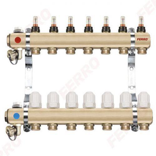 """rozdzielacz typ rzp1"""" rzp06 s 6-drogowy zawór termostatyczny przepływomierze do ogrzewania podłogowego rzp06s marki Ferro"""