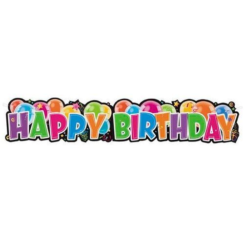 Baner urodzinowy baloniki happy birthday - 26,5 x 132 cm - 1 szt. marki Unique