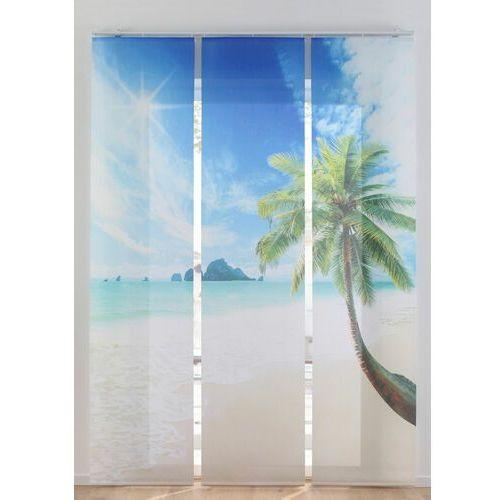 Firana panelowa z motywem karaibskiego krajobrazu (3 części) bonprix piaskowo-niebieski, kolor niebieski