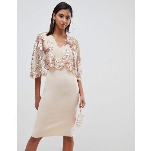 d04651567a Club L sequin cape overlay midi dress - Cream