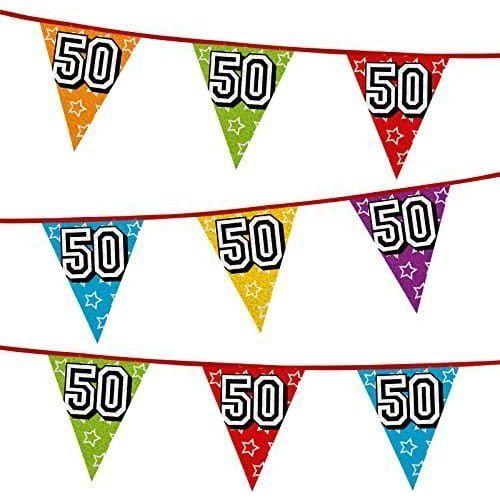 Godan Girlanda z flag na 50 urodziny, kolorowe flagi holograficzne (8712026300508)
