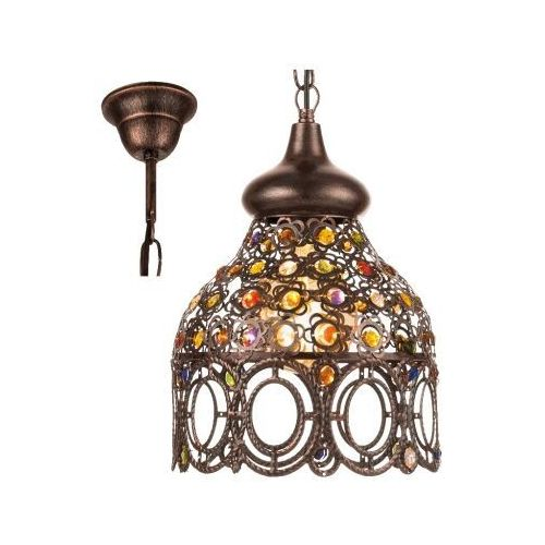 49765 JADIDA LAMPA wisząca stal w kolorze miedzi antycznej / szkło kolorowy EGLO VINTAGE