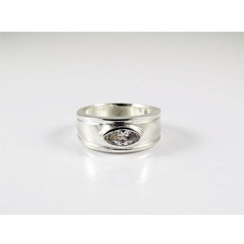 Srebrny pierścionek 925 BIAŁE OCZKO r. 12