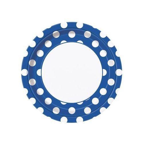 Unique Talerzyki urodzinowe biało-niebieskie w białe kropki - 23 cm - 8 szt. (0011179375059)