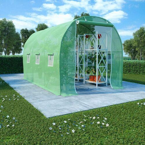 VidaXL Szklarnia ogrodowa, stalowa konstrukcja, 6,86 m², 3,43x2x2 m (8719883796253)
