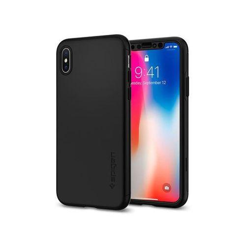 Etui Spigen Thin Fit 360 iPhone X Black 2x szkło Glas.tR Slim, kolor czarny