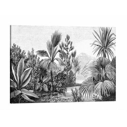 Płótno z nadrukiem JANGAL w etnicznym stylu – 60 × 80 cm (wys. × szer.) – płótno i drewno sosnowe – kolor czarny i biały
