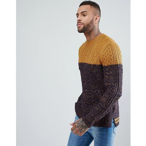River Island Cable Knit Jumper With Navy Blocking In Mustard - Yellow