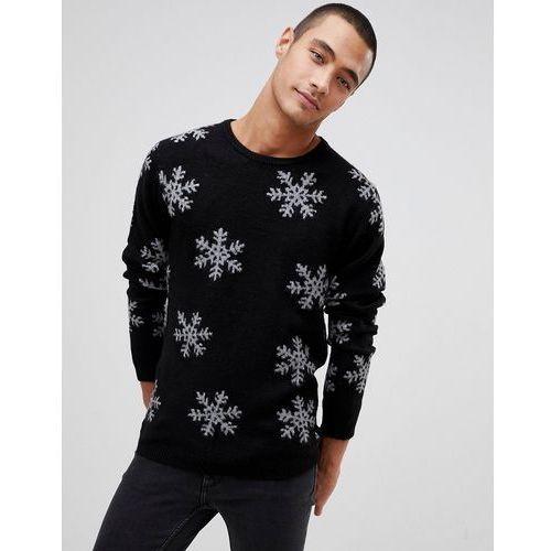 Tom tailor christmas snowflake jumper in black - black