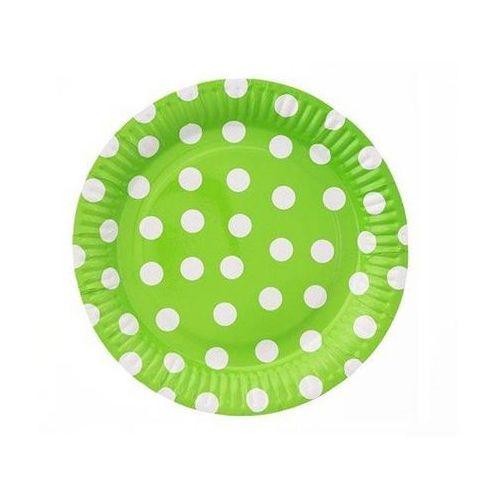 Talerzyki papierowe w groszki zielone 23 cm 6 szt. marki Twojestroje.pl