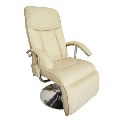 vidaXL Elektryczny fotel masujący z eko-skóry, regulowany, kremowy (8718475832690)