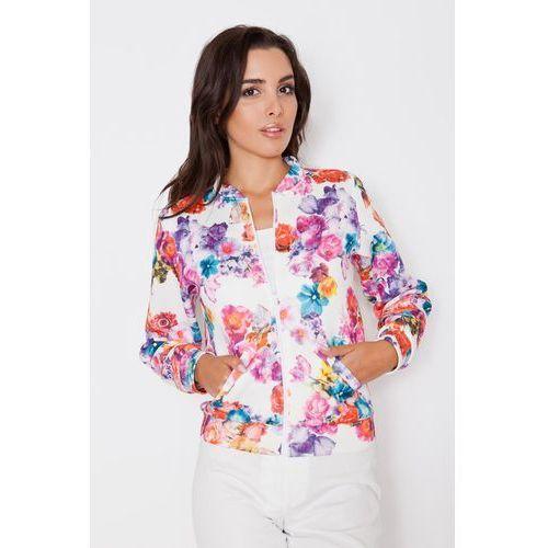 Lekka kurtka w kwiatowy deseń ze stójką marki Katrus