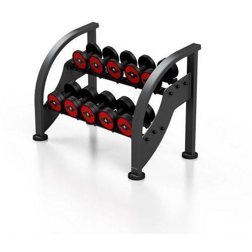 Zestaw hantli stalowych gumowanych 5 - 15 kg ze stojakiem - czerwony marki Marbo sport