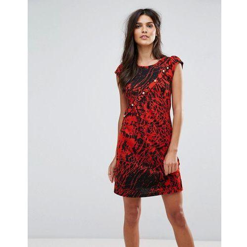Jasmine Splatter Print Dress - Red, kolor czerwony