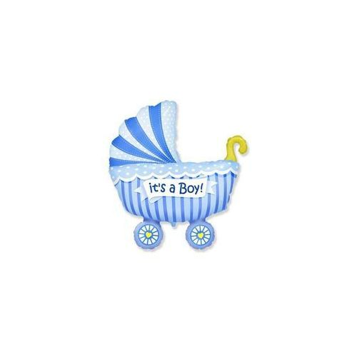 Balon foliowy wózek niebieski - 62 cm - 1 szt. marki Flexmetal balloons
