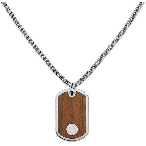 Tommy Hilfiger Nieśmiertelnik stal naszyjnik z imitacji drewna TH2700692, kolor szary