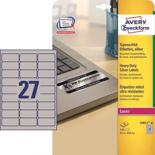 Etykiety znamionowe Avery Zweckform L6011, 63,5x29,6mm