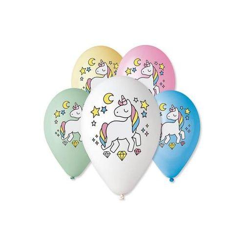 Balony pastelowe jednorożec - magiczna noc - 30 cm - 5 szt. marki Gemar