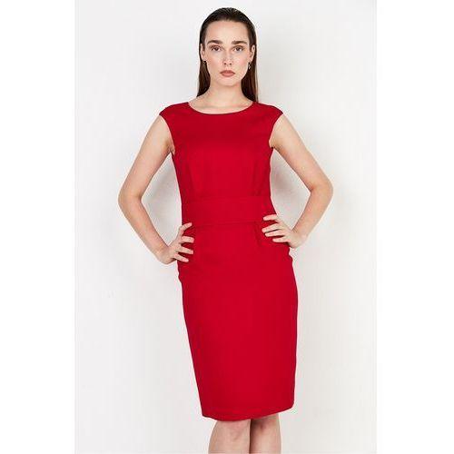 Czerwona sukienka o fasonie tuby - Patrizia Aryton, 1 rozmiar