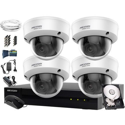 Hikvision hiwatch Monitoring komletny do hurtowni, magazynu, parkingu hwd-7104mh-g2, 4 x hwt-d340-vf, 1tb, akcesoria