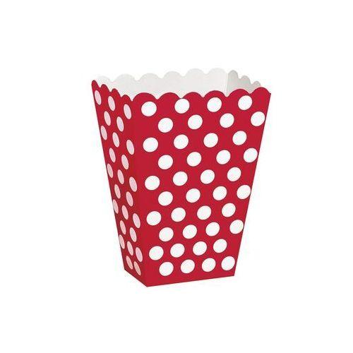 Unique Pudełka na popcorn czerwone w białe kropki - 8 szt. (0011179592920)
