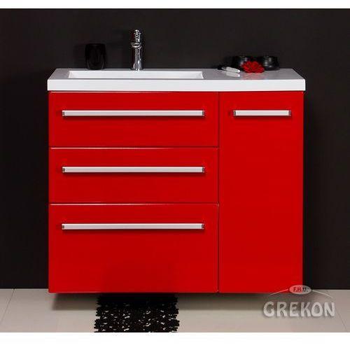 Gante Czerwona szafka wisząca z umywalką 90/39/3l seria fokus cz