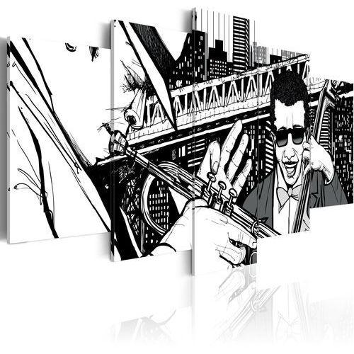 Artgeist Obraz - koncert jazzowy na tle nowojorskich wieżowców - 5 częsci bogata chata