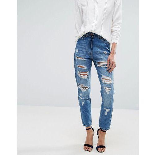 ripped high rise boyfriend jeans - blue marki Parisian