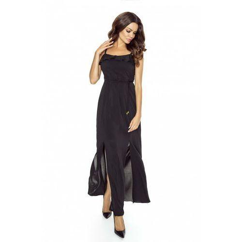 Czarna Sukienka Długa Wieczorowa na Ramiączkach, kolor czarny