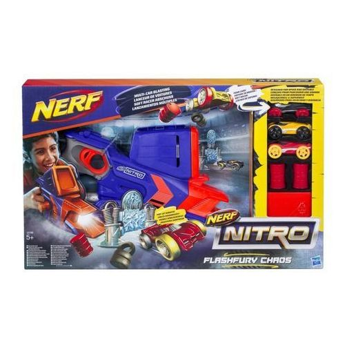 Hasbro  - wyrzutnia nerf nitro flashfury chaos + 3 autka - c0788