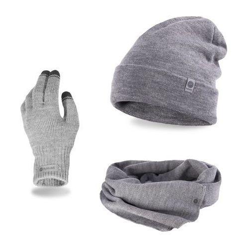 Komplet męski PaMaMi - czapka, szalik, rękawiczki - Jasnoszary