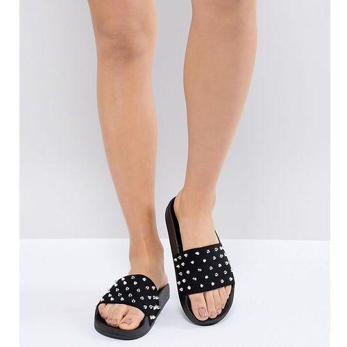 Asos design fernie studded sliders - black
