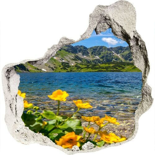 Dziura 3d w ścianie naklejka Jezioro w górach