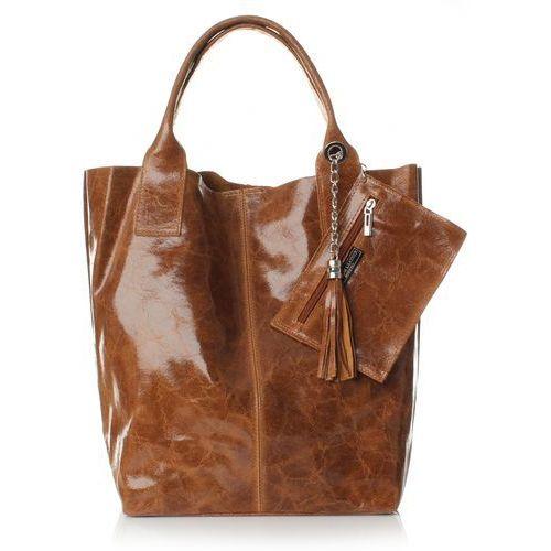 Elegancki shopperbag lakierowana skóra ruda (kolory) marki Genuine leather