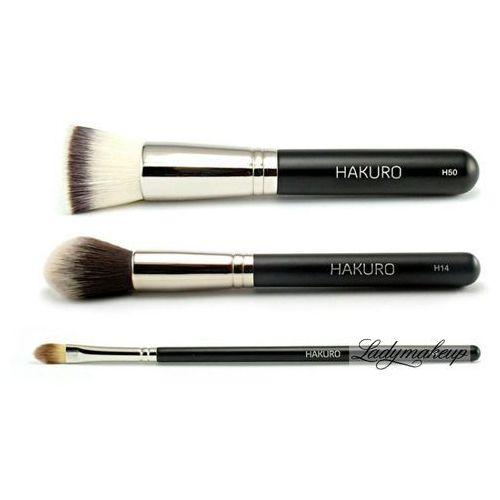 Hakuro - zestaw 3 pędzli do makijażu twarzy - podstawowy - OKAZJE