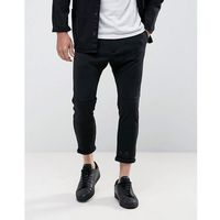 Casual Friday Cropped Drop Crotch Trousers In Black - Black, kolor czarny
