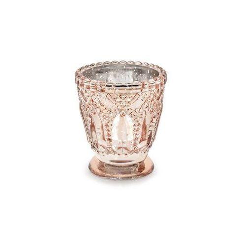 Świeczniki szklane - różowe złoto - 8 cm - 4 szt.