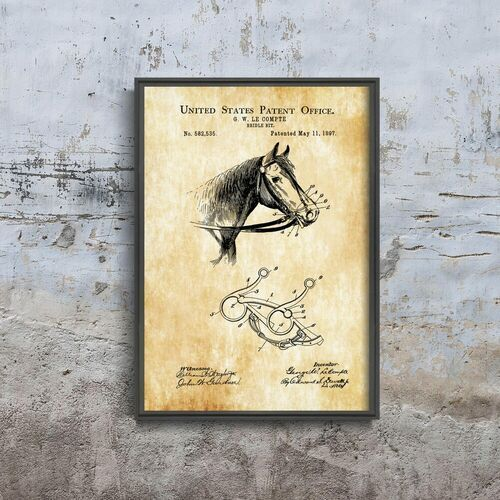Plakat retro do salonu plakat retro do salonu urząd patentowy cowboy patent horse usa marki Vintageposteria.pl