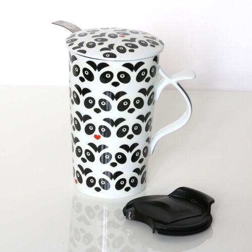 Duży kubek PANDA LOVE z zaparzaczem i pokrywką – prezent upominek dla zakochanych walentynki