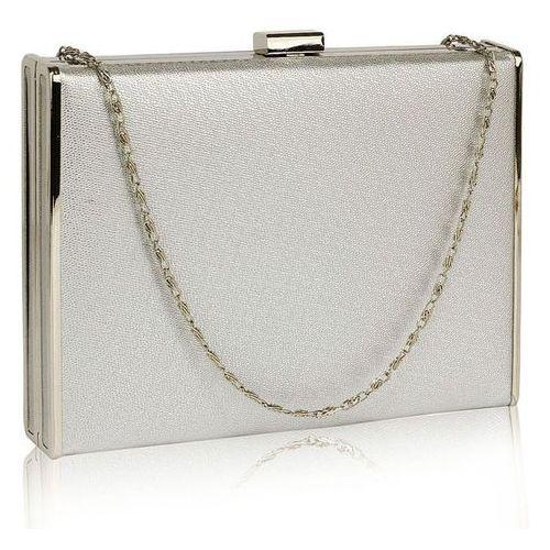 Efektowna gładka torebka wizytowa kopertówka w kolorze srebra - srebrny, kolor szary