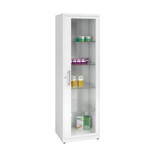 Szafka na lekarstwa, 1 drzwi skrzydłowe, 4 półki, biała. Z blachy stalowej lakie