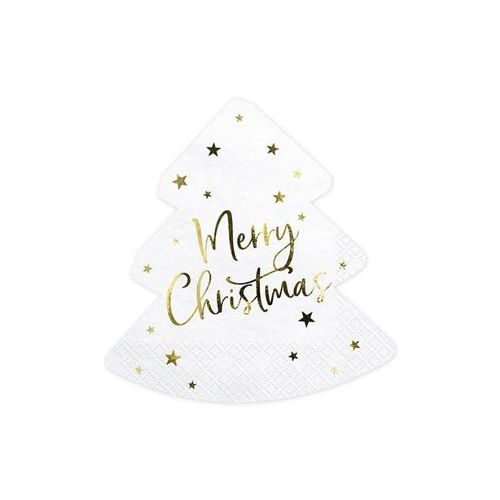 Party deco Serwetki bożonarodzeniowe choinka - merry christmas - 32,5 cm - 20 szt.