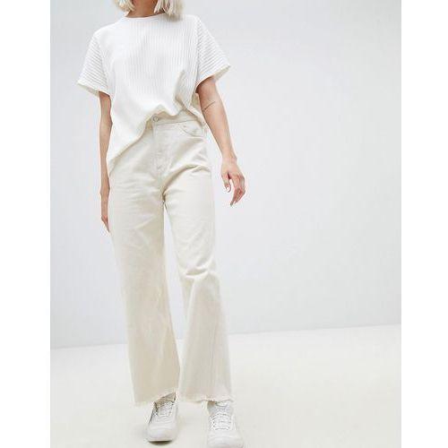 Weekday Crop Wide Leg Jeans With Raw Hem - Cream, kolor beżowy