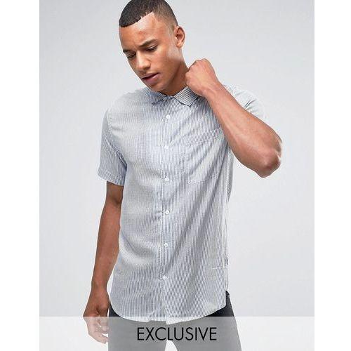 skinny short sleeve revere collar shirt in stripe viscose - navy marki Only & sons
