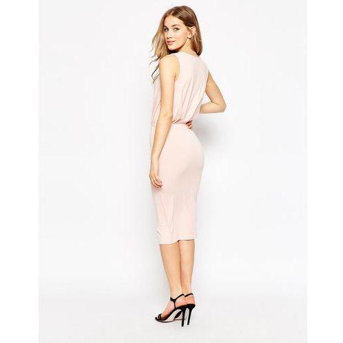ASOS PETITE Sleeveless Drape Midi Dress - Pink, suknia, sukienka ASOS Petite