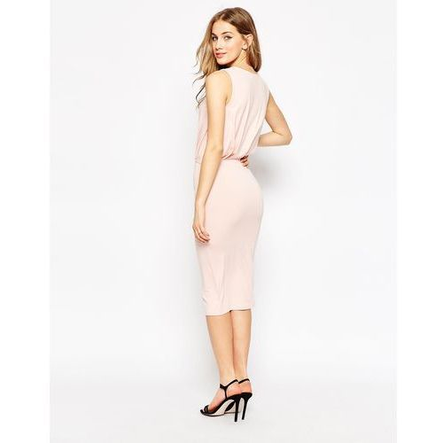 ASOS PETITE Sleeveless Drape Midi Dress - Pink
