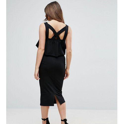 ASOS Maternity PETITE Ruffle Top Square Neck Midi Dress With Cross Back - Black